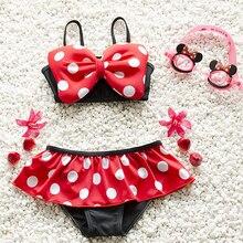 Летний детский купальный костюм с красным бантом для маленьких девочек, купальный костюм в горошек, комплект бикини, танкини, купальник