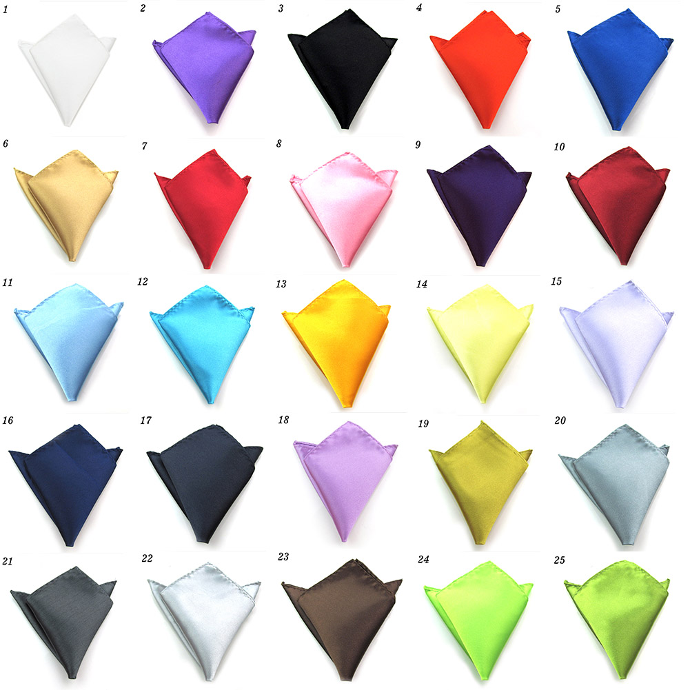 Mens Satin Solid Plain Color Wedding Party Hanky Pocket Square Handkerchief NEW