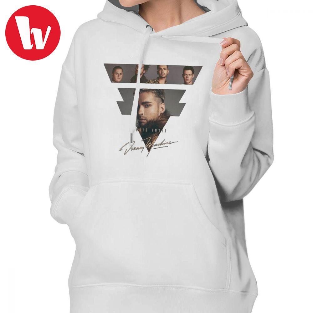 Tokio Hotel Hoodie Tokio Hotel Logo Bill Hoodies Baumwolle Gedruckt Hoodies Frauen Weiß Street Langarm Pullover Hoodie