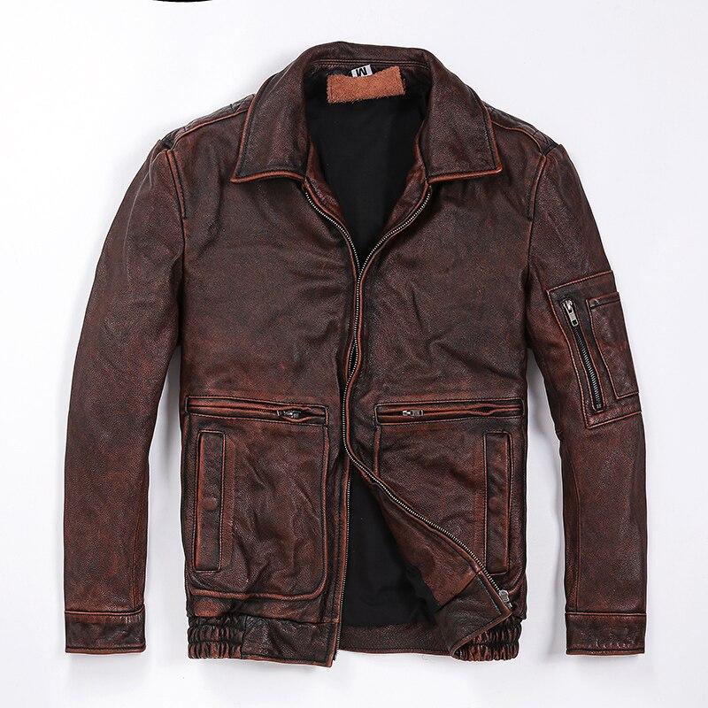 Classique Gray Style 60 Vintage 100 Cuir Qualité Coatsales vintage Vachette Jacketman Brown Marque 110kgs vintage Black En Moteur Mince Jacketshigh fpwqpTd