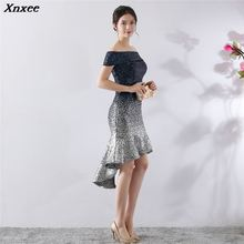Xnxee Sexy Off Shoulder Red Gradient Knee-Length Mermaid Women Elegant Celebrity Evening Party Dresses Clubwears