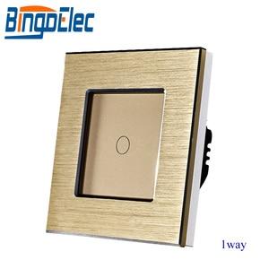 Image 2 - Bingoelec EU/UKมาตรฐาน 1 GANG 1 WAY TOUCH Switch,เงินโลหะสวิทช์ไฟ,AC110 250V,86*86 มม.