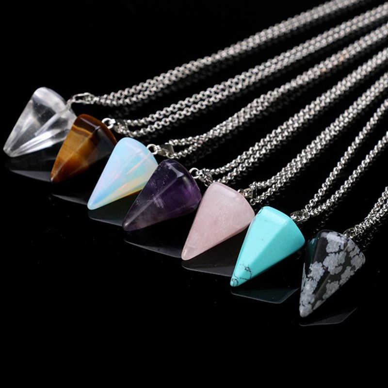 Natural Stone 1PC Pendant Necklace 2018 New Arrival Crystal Silver Women Amulet Adjustable Meditation Small Size Reiki Hexagonal