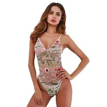 Ladies floral embroidery sexy leotard perspective Net Siamese clothing lingerie White