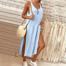 Solid O Neck Split Loose Dress Women Summer Sleeveless Party Female Robe Beach Casual Dresses