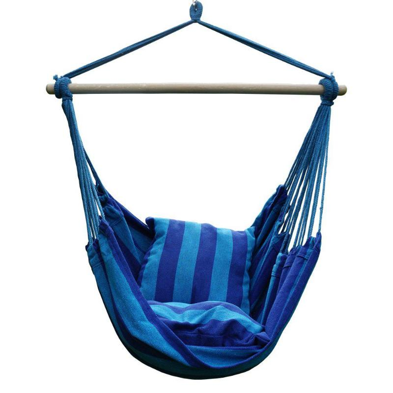Home Hammock Hanging Rope Chair Swing Chair Seat W/2 Pillows (Dark Blue And No Stick)