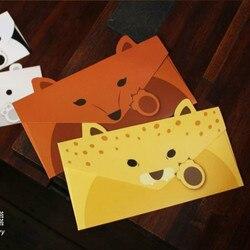 2 teile/los Kreative Niedlichen Tier Panda Hund Stil Papier Kraft Umschlag Koreanische Gruß Karte Schreibwaren Liefert 03226