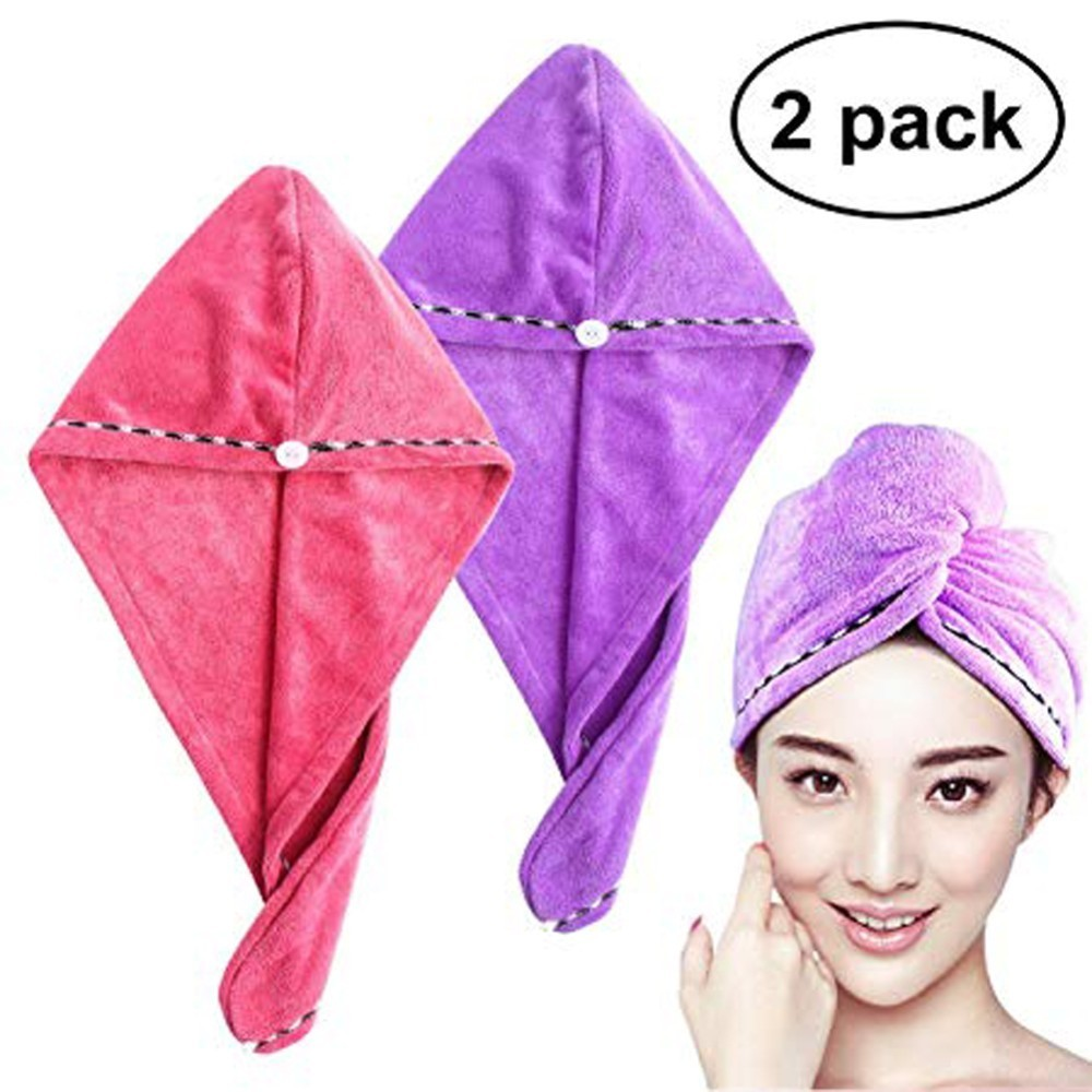 2 Anpro Coral Velvet Dry Hair Bath Towel Microfiber Quick Drying Turban Super Absorbent Women Hair Cap Wrap with Button thicken