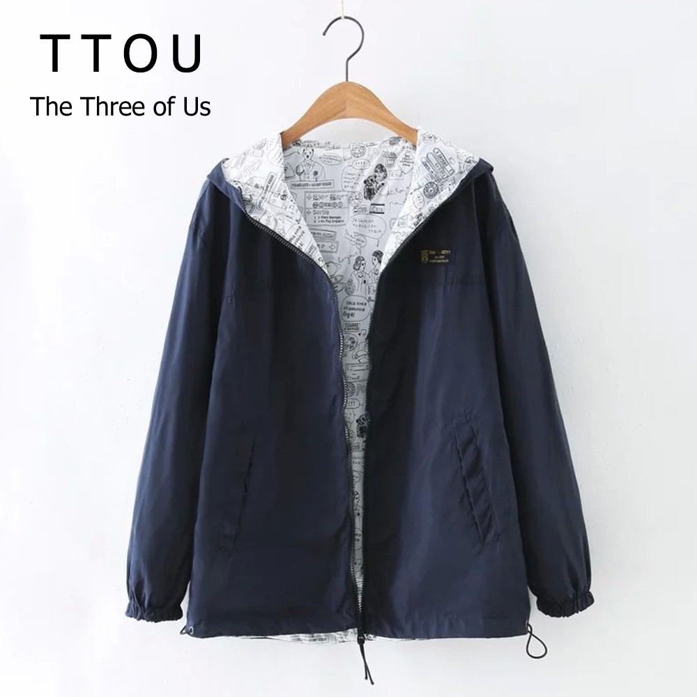 TTOU Autumn Women Casual Bomber Basic Jacket Pocket Zipper Hooded Two Side Wear Cartoon Print Outwear Loose Coat