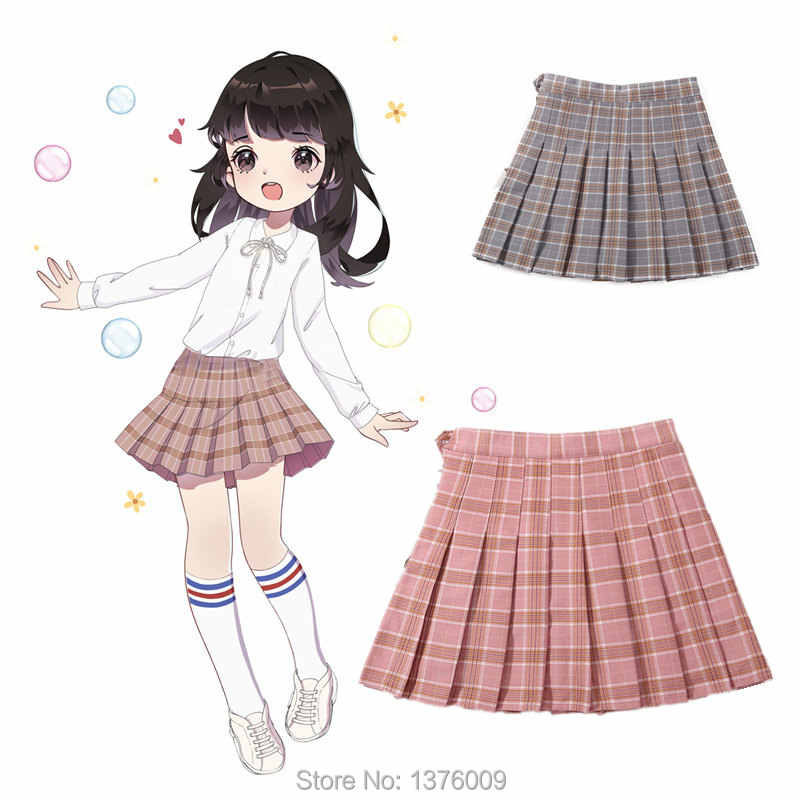 1e89cdfa4 Lolita Girls Plaid Pleated Skirt KIDS Young Girls School Solid Skirts Stage  Show Cheerleader Anime Cosplay
