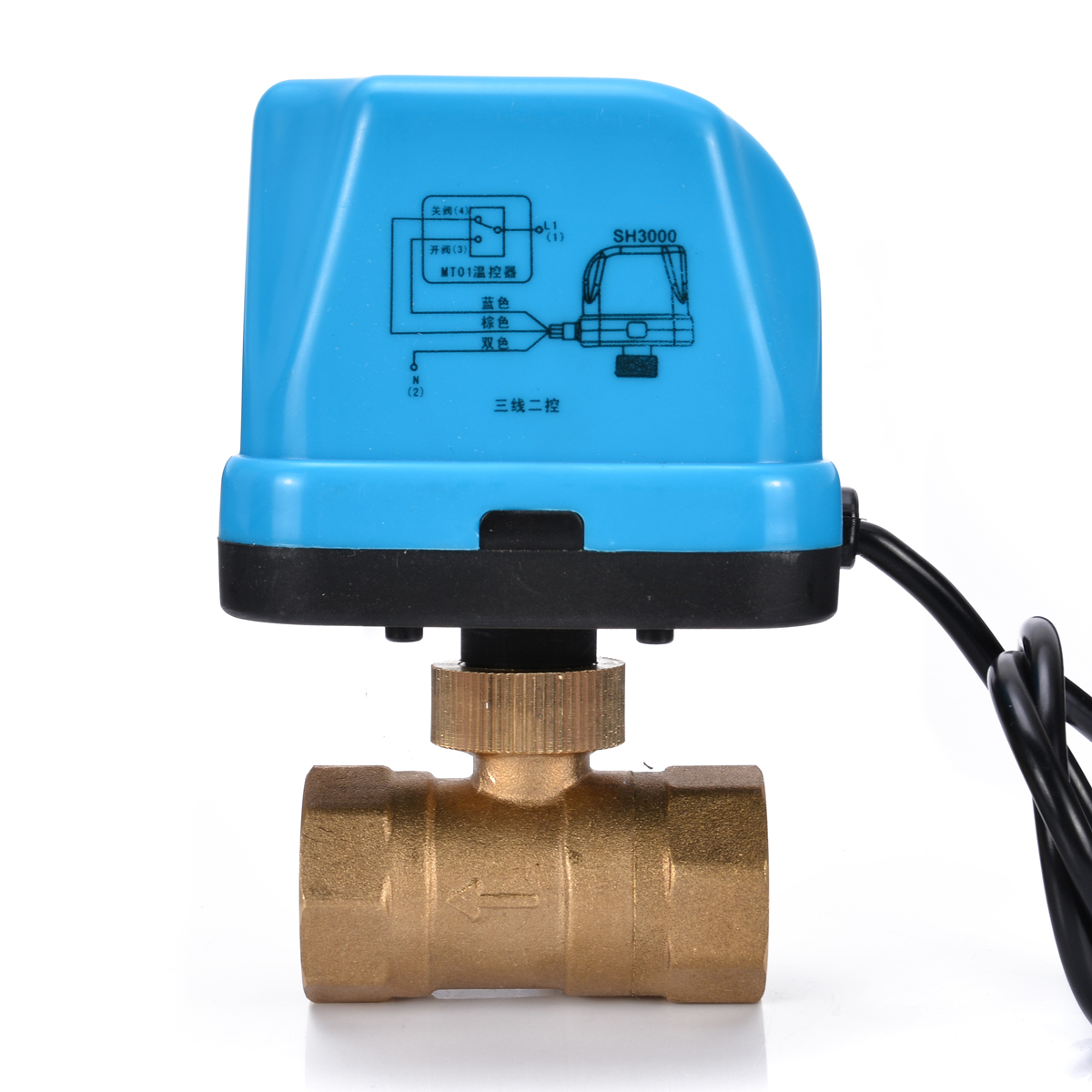 """1PC Brass Electrical Ball Valve G3/4"""" DN20 3/4 Inch 2 Way 220V Control Electric Motorized Ball Valves With LED Light Mayitr"""