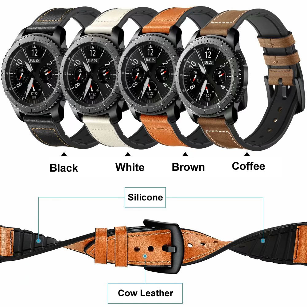 Sport Watch Strap For Huami Amazfit 1 2 Genuine Leather With Rubber Watchbands For Samsung Gear S3 Bracleelt For Huawei Watch 2PSport Watch Strap For Huami Amazfit 1 2 Genuine Leather With Rubber Watchbands For Samsung Gear S3 Bracleelt For Huawei Watch 2P