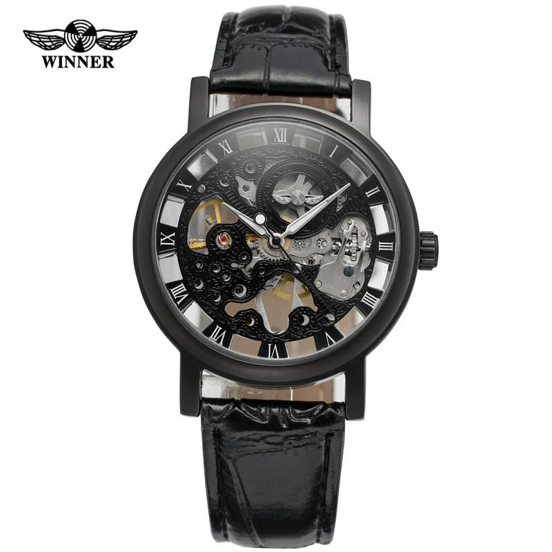 Classic Leather Skeleton Men Mechanical Watch Fashion Automatic Mechanical WristwatchClassic Leather Skeleton Men Mechanical Watch Fashion Automatic Mechanical Wristwatch