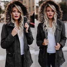 Laipelar New Women Fashion Winter Fur Hooded Zipper Coat Cotton Army Green Long Sleeve Jacket Cotton Parkas Laipelar недорого
