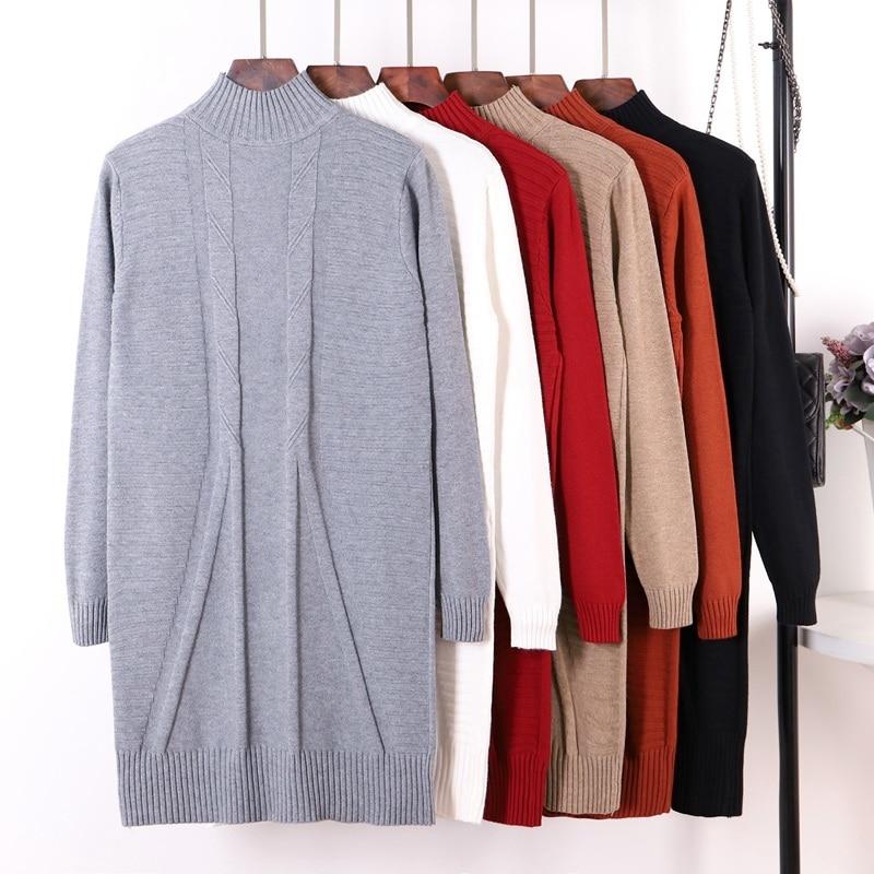 Женское трикотажное платье-свитер GIGOGOU, длинное трикотажное платье-свитер с длинными рукавами, трикотажный пуловер на осень и зиму