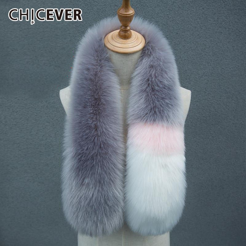 CHICEVER Autumn Winter Hit Colors Scarf For Women Shawls Fur Collar Thick Warm Women's Scarves Korean Fashion Accessories New