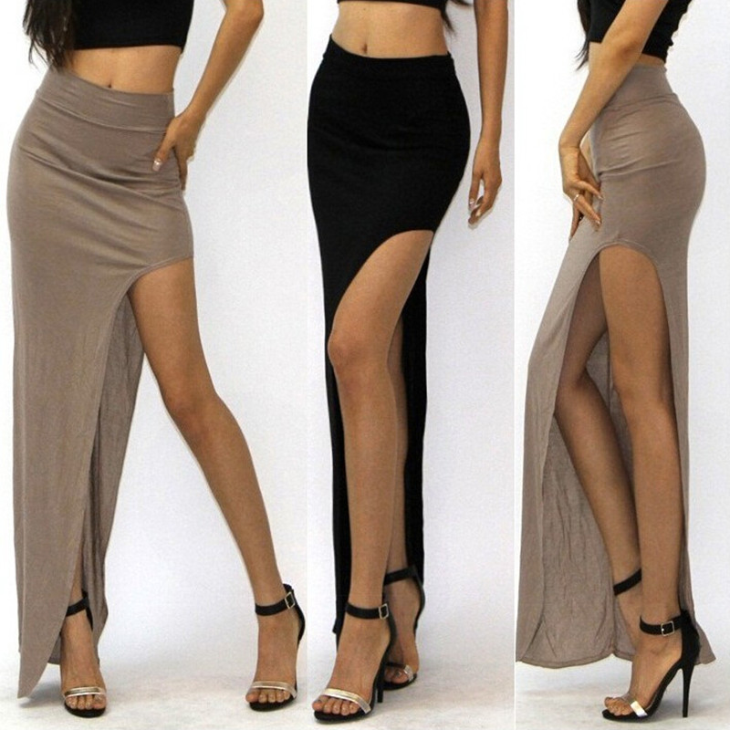2019 New Women  Summer  Hot Low Side Package Hip Bodycon High Long Sexy Asymmetrical Slit  Maxi  Women's Slim Solid Skirt  Waist