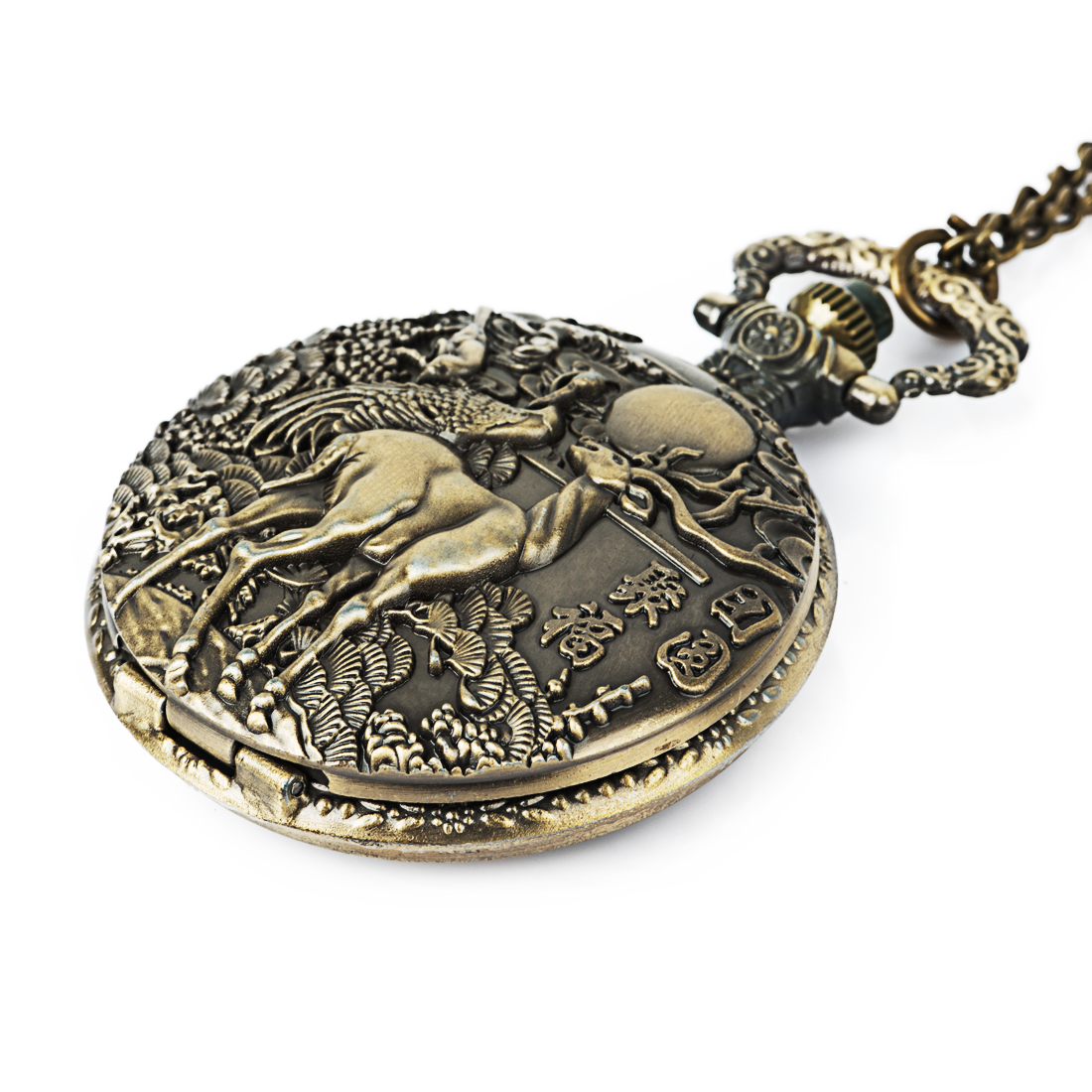 New Fashion Antique Bronze Steampunk Pocket Watch Animal Milu Deer Quartz Mechanical Watch Pendant Necklace Chain