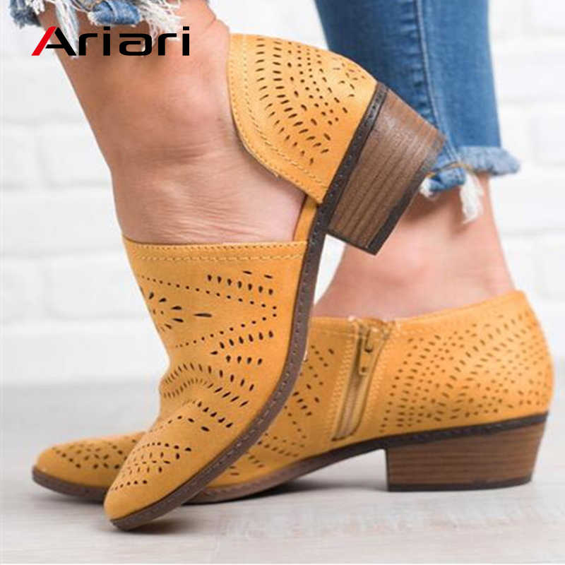 Ariari Hollow out Sandals  Round Toe Flats Gladiator Sandals Women Casual Shoes Female Low Heels Zipper Sandals Beach Shoes
