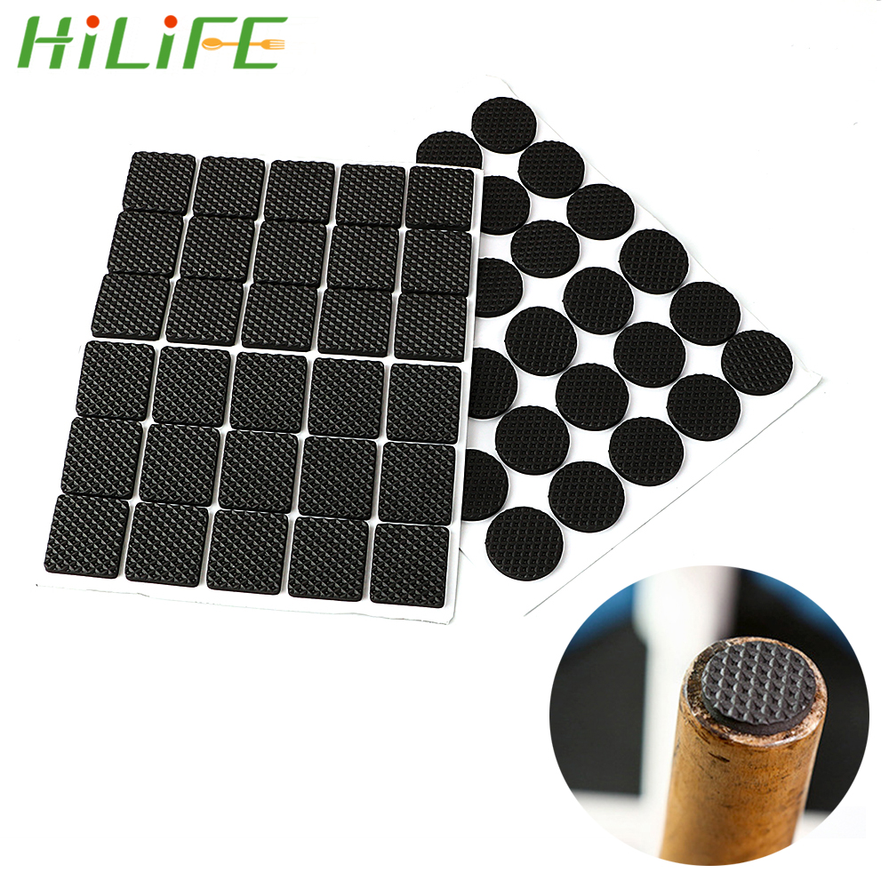 HILIFE 30pcs Anti-skid Self Adhesive Furniture Leg Feet Mat Round Square Sofa Chair Leg Sticky Pad Rubber Table Feet No-Slip Pad
