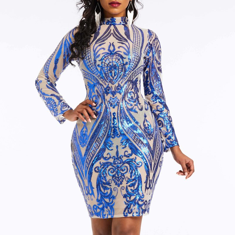 Women Reflective <font><b>Dresses</b></font> <font><b>Sexy</b></font> Club Summer High Street <font><b>Bodycon</b></font> Solid Sequins Print Ethnic Style Female Fashion <font><b>Blue</b></font> Mini <font><b>Dress</b></font> image