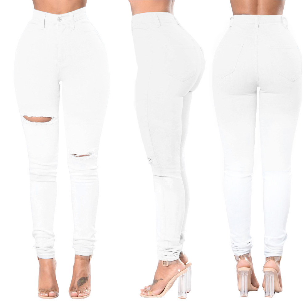 Jeans of Women Fashion Sexy High Waisted Skinny Hole Jeans Women White Stretch Slim Pants Ankle Length Pencil Pants Plus Size