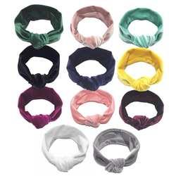 11 Цвета Дополнительно однотонная одежда резинка для волос детей стильный Pleuche повязки с узлом ребенка голову украшения красивые