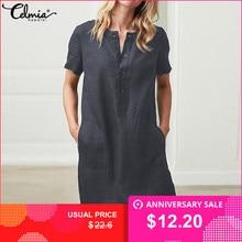 49d5436d9f2 Летнее льняное платье 2019 Celmia Для женщин Туника Топ Футболка с коротким  рукавом Кнопка женский Винтаж
