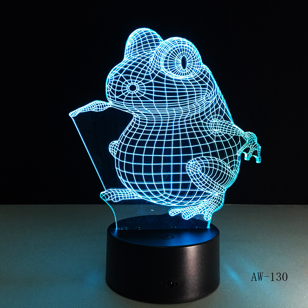 Animal Frog Seeds 3D Cartoon USB Lamp Bulbasaur LED Night Light Visual Illusion Table Holiday Kid Toy Drop Shipping AW-130