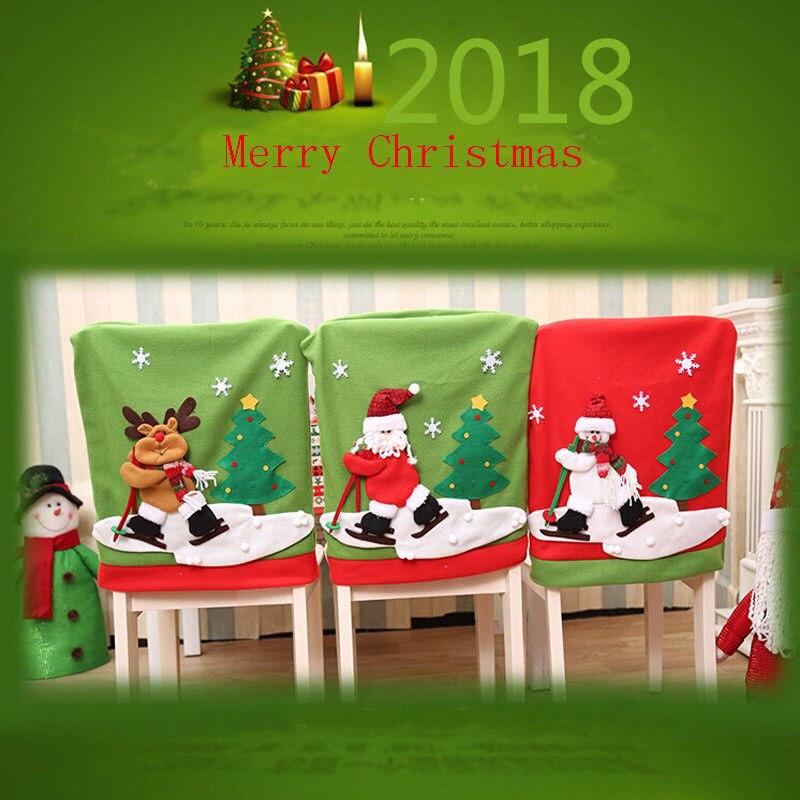 2018 Nieuwste Hot Party Kerst Tafel Rode Cover Xmas Hoed Kerstman Sneeuwpop Herten Decor Diner Stoel Cover