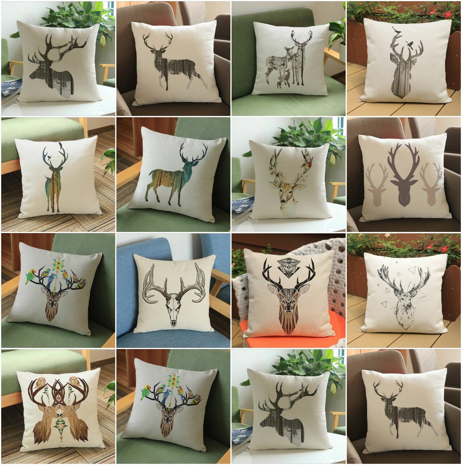 HGLEGYW  Christmas Elk Deer Printe Print Pillow Case Throw Pillowcase Cotton Linen Printed Pillow Covers Office Home Textile