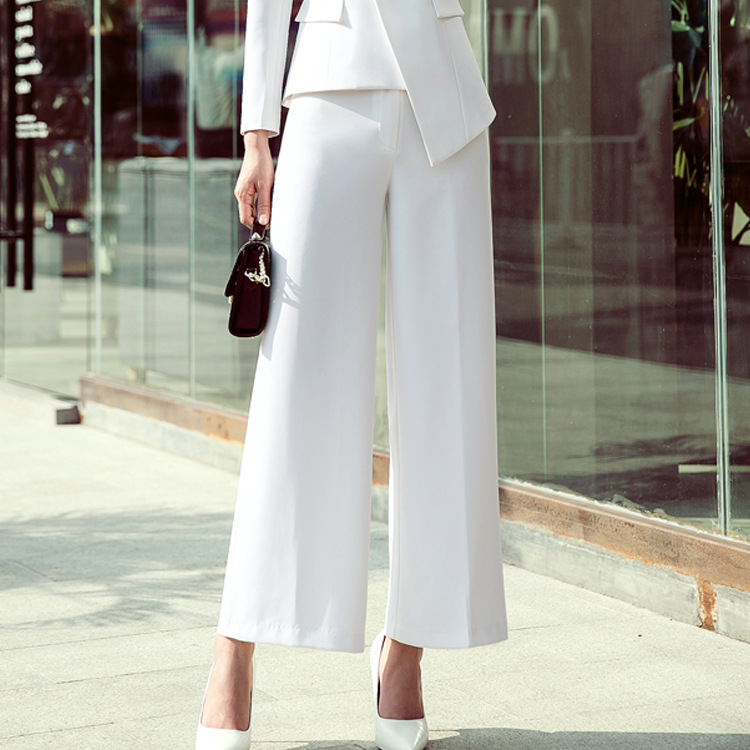 Women Summer Wide Leg Business Pants Casual Loose High Waist Harem Pants Loose Corduroy Office Mid Solid White Trousers