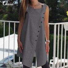 2019 Celmia Vintage Blouses Women Asymmetrical Tunic Tops Su