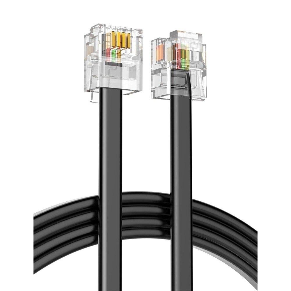 Качество 5 м 4C телефонной линии RJ11 6P4C разъем телефонный кабель чистый Медь провод для АТС аналоговый цифровой телефон Настраиваемые 1-100 м title=