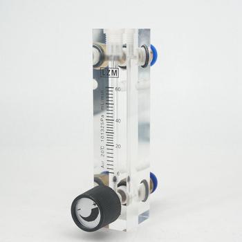 6-60 ml/min LZM-6T tipo de painel acrílico medidor de fluxo de ar rotameter com válvula de controle empurrar apto 8mm tubo od