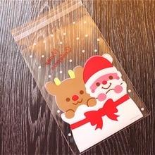 ที่ดีที่สุด 100 Pcsถุงขนมน่ารักซองกระเป๋ารูปแบบSanta Clausกระเป๋าสำหรับขนมบิสกิตช็อกโกแลตขนมหวานcandyของขวัญB