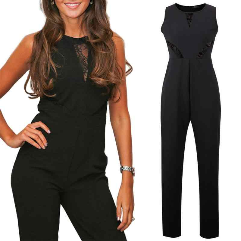9832764518dc ... OL Office Wear Women Jumpsuit Long Pants Sleeveless Lace Embroidery  Playsuit Female Casual Siamese Trousers Ladies