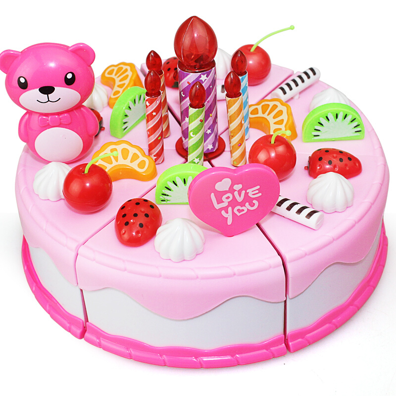 38 80pcs DIY Pretend Play Fruit Cutting Birthday Cake Kitchen Food Toys Cocina De Juguete Toy Children Girls Christmas Gift Toys in Kitchen Toys from Toys Hobbies
