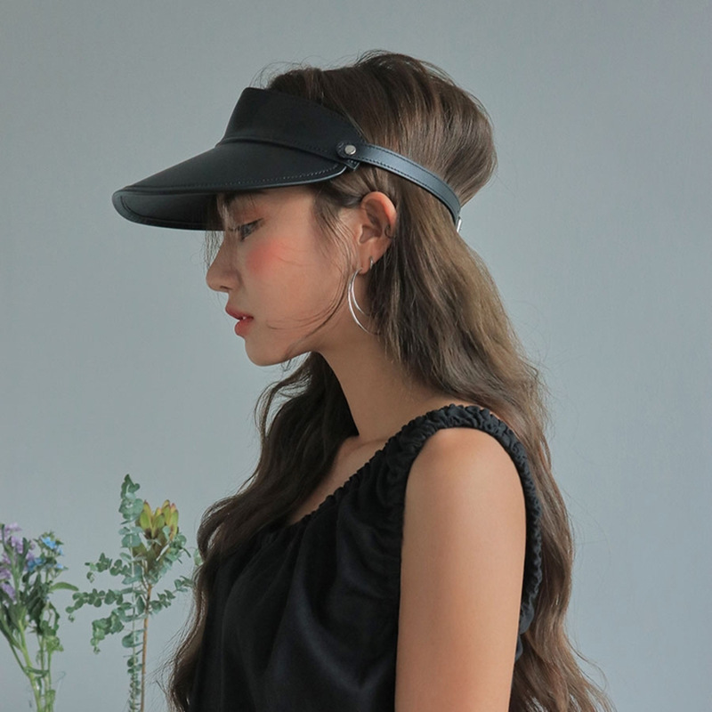 Sunshade Hat Bicycle PU Sun Hat Women PU Visor Hat Summer Cap Fashion Show Model Harajuku Visor Hat Summer Empty Roof