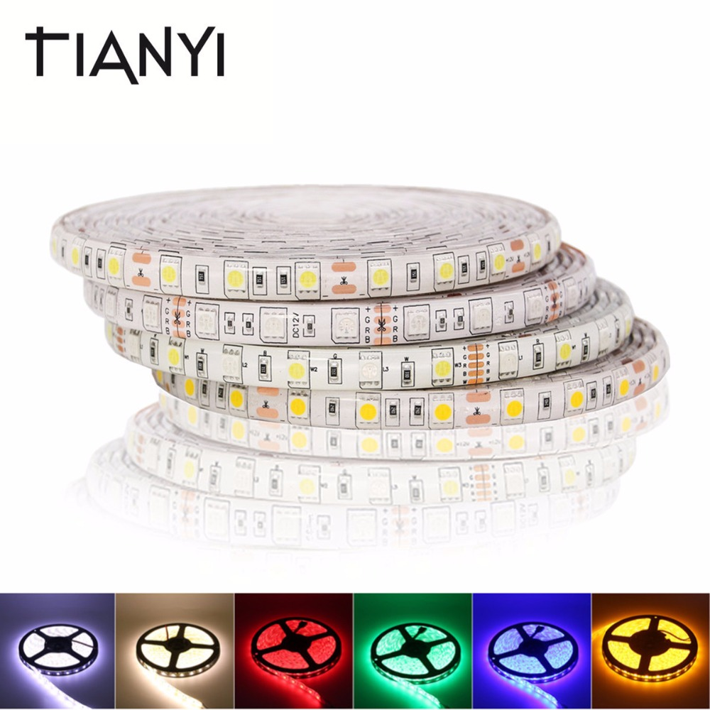 5050 DC 24V RGB LED Strip Waterproof 5M 300LED Luz LED Light Strips Flexible Neon Tape String 60LED/M Home Lighting Decoration beiyun smd 5050 rgb led strip 5m 300led not waterproof dc 12v led light strips flexible neon tape luz white warm white rgb