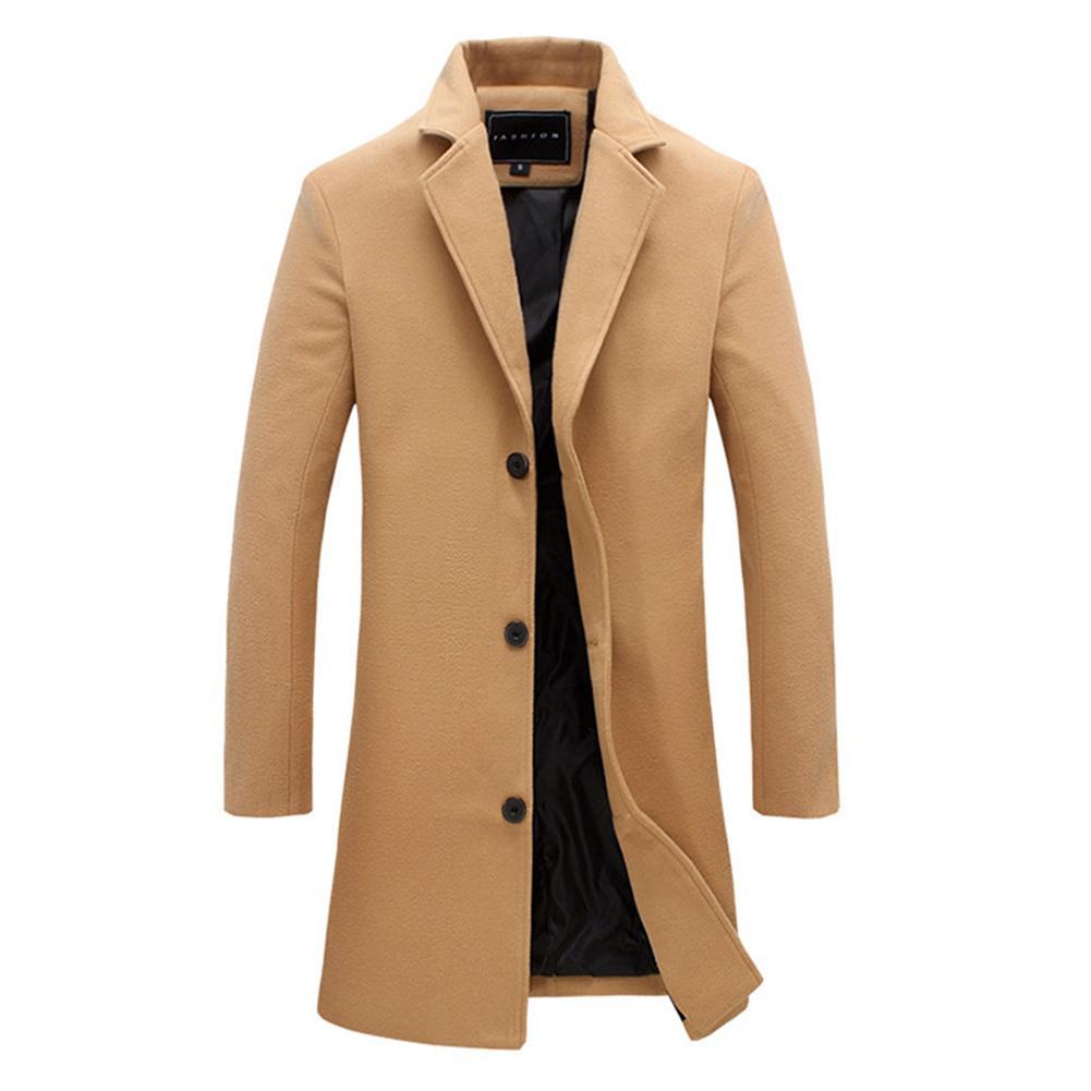 2019 Fashion Men's Wool Coat Winter Warm Solid Color Long Trench Jacket Male Single Breasted Business Casual Overcoat Parka 1