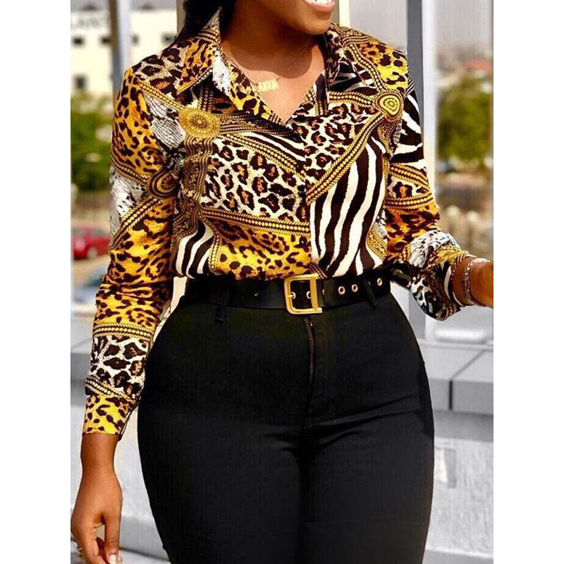 Vintage Summer Yellow Print Leopard Women Blouses Plus Size Office Ladies Sexy Casual Retro Long Sleeve Tops Fashion Shirts