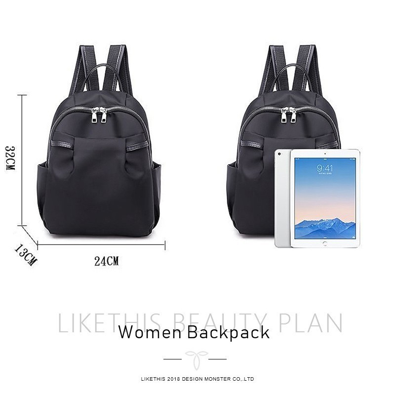 LIKETHIS 2019 Women New Fashion School Bags Travel Backpack Black Bag For Women Backpack Waterproof Nylon Shoulder Bags Popular in Backpacks from Luggage Bags