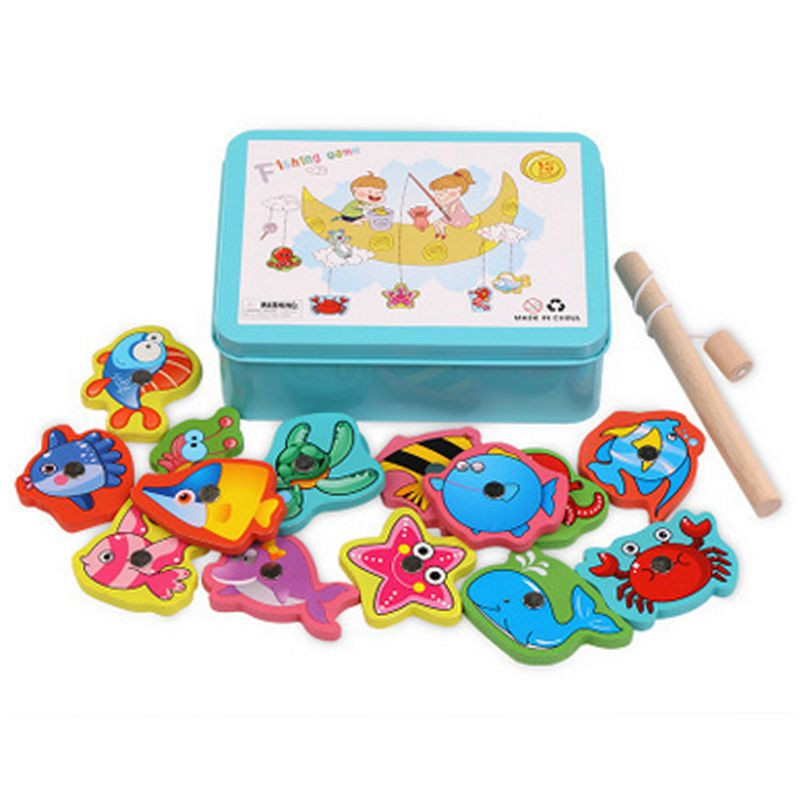 16pcs Set Plastic Magnetic Fishing Toys Game Kids Fish Indoor Outdoor Fun Baby Wooden Water Lure with Metal Box