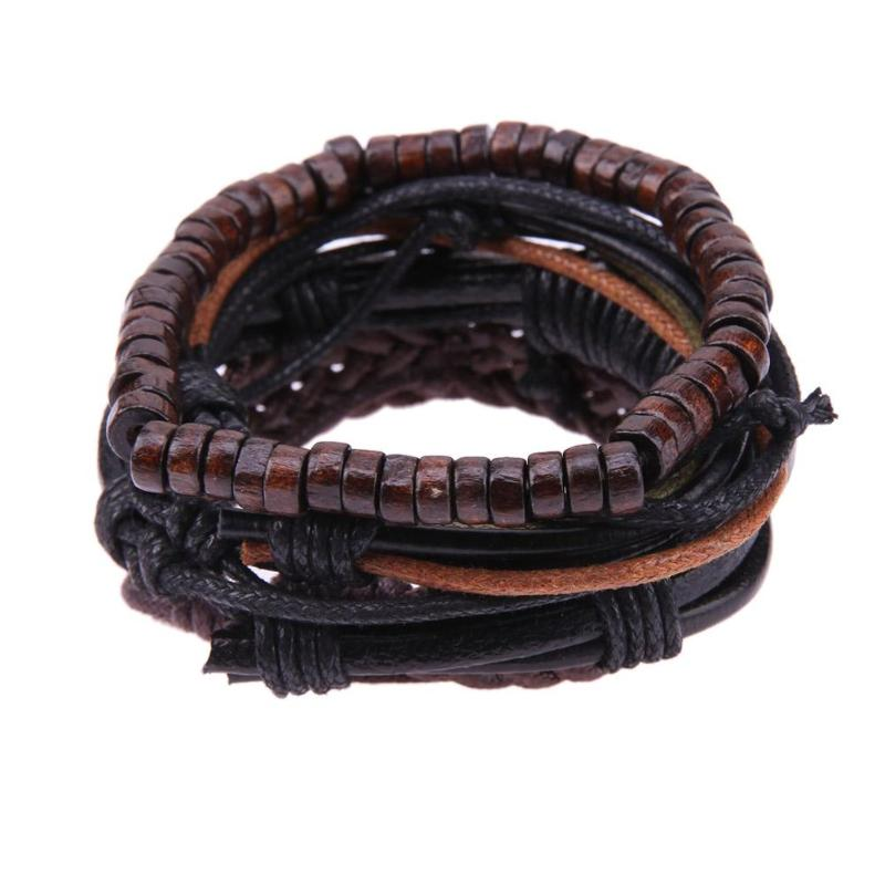 Men European Retro Multilayer Cowhide Handmade Woven Bracelet Jewelry