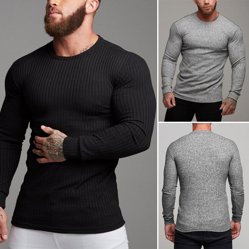 Knitted Sweater Muscle-Fit Fashion-Tops Long-Sleeve Basic-Style Men Autumn Winter Slim