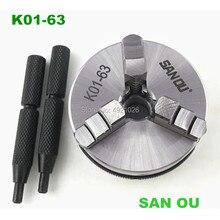 K01-63 63mm 3-jaw chuck 2.5 inch linkage,manual chuck thread