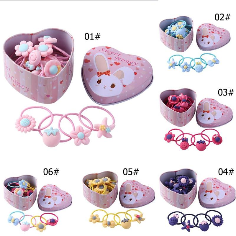 20pcs/set Girls Hair Bands Rubber Bands With Box Cute Cartoon Kids Elastic Hairband Infant Scrunchies Headwear Children Headband
