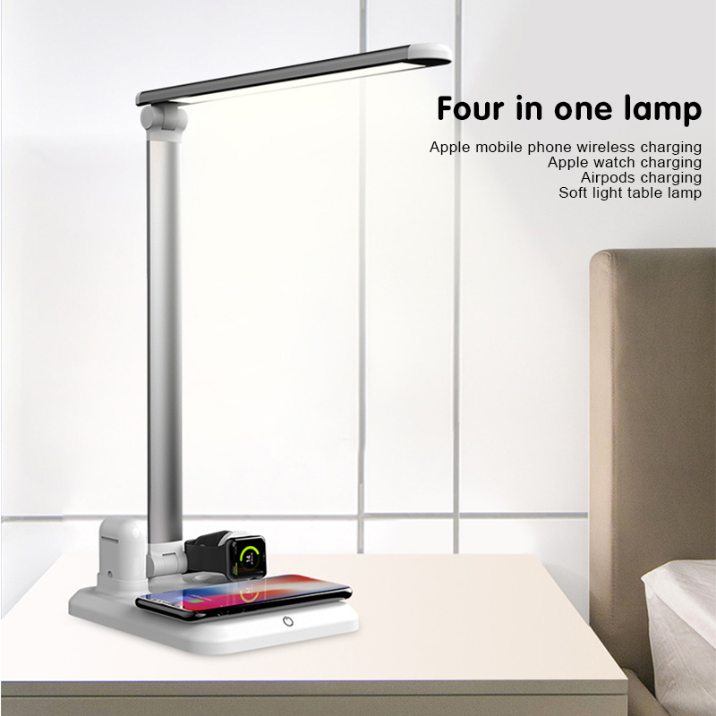 Table Lamp 4 in 1 LED Desk Lamp Wireless Charger For Apple Watch iPhone X XS Max Airpods Touch On/off Switch Three Light Modes|LED Table Lamps| |  - title=