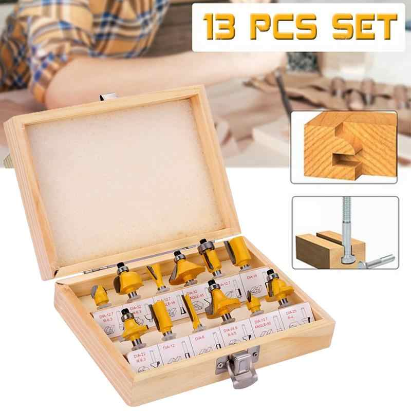 "12pcs Edge Trimming Router Bits Set 6.35mm 1/4"" Woodworking Milling Cutter Engraving Machine Bit with Wooden Box"